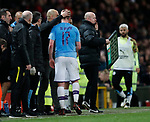 Kevin De Bruyne of Manchester City is substituted following his clash during the Carabao Cup match at Old Trafford, Manchester. Picture date: 7th January 2020. Picture credit should read: Darren Staples/Sportimage