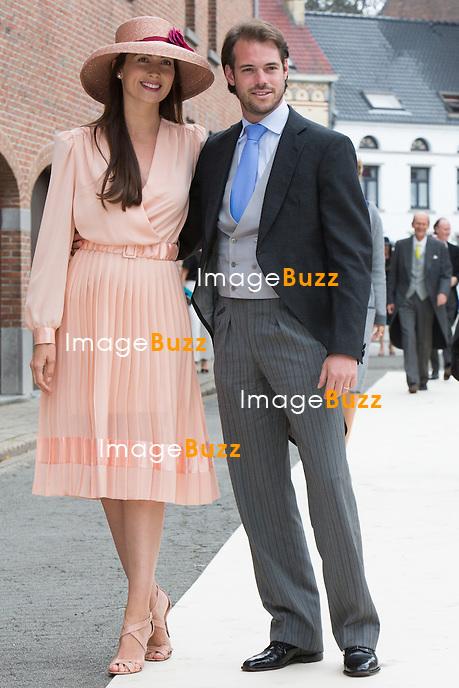 Princesse Claire de Luxembourg &amp; le Prince F&eacute;lix de Luxembourg - Mariage de la Princesse Alix de Ligne et Guillaume de Dampierre, en l'&eacute;glise Saint-Pierre &agrave; Beloeil, en Belgique.<br /> Belgique, Beloeil, 18 juin 2016<br /> Princess Claire of Luxembourg &amp; Prince F&eacute;lix of Luxembourg - Wedding of Princess Alix de Ligne and Guillaume de Dampierre, in Beloeil, Belgium.<br /> Belgium, Beloeil, 18 June 2016