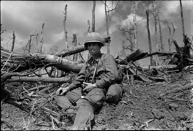 Gilles Caron, photographer, during the Battle of Dak To, Hill 875, South Vietnam, November 1967