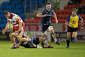 29th September 2017, AJ Bell Stadium, Salford, England; Aviva Premiership Rugby, Sale Sharks versus Gloucester; Gloucester Rugby's Gareth Denman is tackled by Sale Sharks' AJ MacGinty