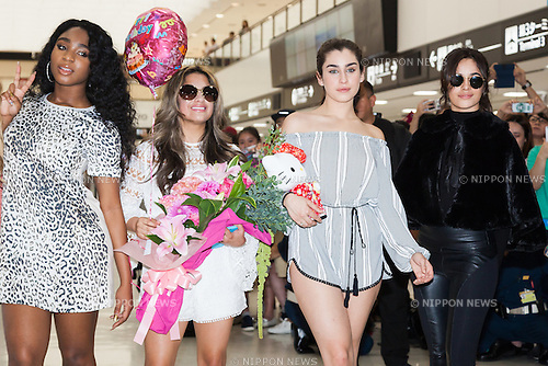 (L to R) Normani Hamilton, Ally Brooke, Lauren Jauregui and Camila Cabello, members of the American five-piece girl group Fifth Harmony, pose for the cameras upon their arrival at Narita International Airport on July 7, 2016, Chiba, Japan. Fifth Harmony are in Japan for the first time to promote their new song Work from Home. Fifth Harmony flew 25 hours from Sau Paulo to Japan after finishing their tour of South America. (Photo by Rodrigo Reyes Marin/AFLO)