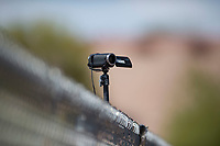 A video camera records action during a Minor League Spring Training game between the Chicago Cubs and the Colorado Rockies at Sloan Park on March 27, 2018 in Mesa, Arizona. (Zachary Lucy/Four Seam Images)