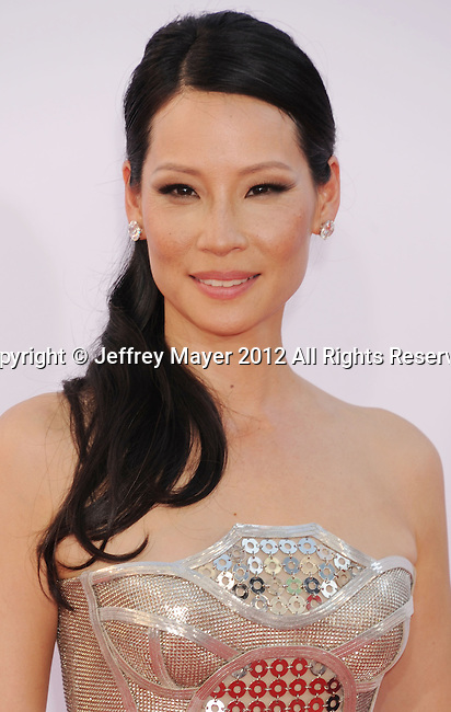 LOS ANGELES, CA - SEPTEMBER 23: Lucy Liu  arrives at the 64th Primetime Emmy Awards at Nokia Theatre L.A. Live on September 23, 2012 in Los Angeles, California.