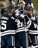 Clinton Bourbonais (Yale - 15), ?, Trent Ruffolo (Yale - 11), Gus Young (Yale - 2) - The Yale University Bulldogs defeated the Harvard University Crimson 5-1 on Saturday, November 3, 2012, at Bright Hockey Center in Boston, Massachusetts.