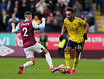 Matthew Lowton of Burnley tackles Pierre-Emerick Aubameyang of Arsenal during the Premier League match at Turf Moor, Burnley. Picture date: 2nd February 2020. Picture credit should read: Andrew Yates/Sportimage