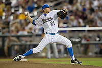 UCLA pitcher Nick Vander Tuig (21) delivers a pitch to the plate against the Mississippi State Bulldogs during the 2013 Men's College World Series Final on June 25, 2013 at TD Ameritrade Park in Omaha, Nebraska. The Bruins defeated the Bulldogs 8-0, winning the National Championship. (Andrew Woolley/Four Seam Images)