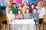 Children at Raheen Community Playgroup who raised money for two chariities -Build4life and the Kerry Rape and Sexual Abuse Centre. .Front L-R Kayleigh Scannell, Caoimhe Cronin, Rhea Kate Devane and Lee Keelly. .Back L-R Lorena O'Connor (manager), Conor and Sarah Warren, Oscar Hovett, Thomas Mackey and Joanna Slattery.