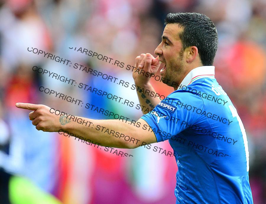 GDANSK 10.06.2012.PILKA NOZNA UEFA EURO 2012.MECZ FAZY GRUPOWEJ GRUPA C.HISZPANIA WLOCHY.NZ ANTONIO DI NATALE RADOSC BRAMKA.FOT MAREK BICZYK PRZEGLAD SPORTOWY NEWSPIX.PL.---.Newspix.pl .GOAL HAPPY ..MATCH SPAIN ITALY.---.Newspix.pl