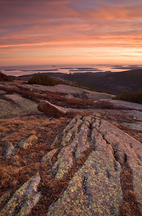 Sunset atop Cadillac Mountain overlooking the Cranberry Isles in Acadia National Park, Maine