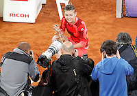 Simona Halep, Roumania, celebrates the victory in the Madrid Open Tennis 2016 Final match.May, 7, 2016.(ALTERPHOTOS/Acero)a /NortePhoto.com