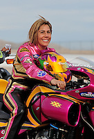 Nov. 1, 2008; Las Vegas, NV, USA: NHRA pro stock motorcycle rider Valerie Thompson during qualifying for the Las Vegas Nationals at The Strip in Las Vegas. Mandatory Credit: Mark J. Rebilas-