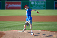 Batavia Muckdogs young fan throws out a ceremonial first pitch before a NY-Penn League game against the West Virginia Black Bears on June 25, 2019 at Dwyer Stadium in Batavia, New York.  Batavia defeated West Virginia 7-3.  (Mike Janes/Four Seam Images)
