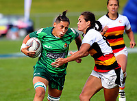Crystal Mayes in action during the Women's Cup Final between Manawatu and Waikato on day two of the 2018 Bayleys National Sevens at Rotorua International Stadium in Rotorua, New Zealand on Sunday, 14 January 2018. Photo: Dave Lintott / lintottphoto.co.nz