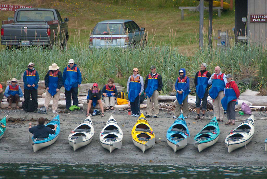 Kayak Tour Operator Launches Trip from San Juan County Park, San Juan Island, Washington, US