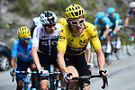 The peloton led by Team Sky with race leader Yellow Jersey Geraint Thomas (WAL) in action during Stage 12 of the 2018 Tour de France running 175.5km from Bourg-Saint-Maurice les Arcs to Alpe D'Huez, France. 19th July 2018. <br /> Picture: ASO/Alex Broadway | Cyclefile<br /> All photos usage must carry mandatory copyright credit (&copy; Cyclefile | ASO/Alex Broadway)
