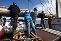 THE BESSIE ELLEN TRAVEL FEATURE.<br /> The crew lower the sails off the island of Lunga in the Inner Hebrides, Scotland.<br /> Photo:Clare Kendall<br /> 24/05/2016