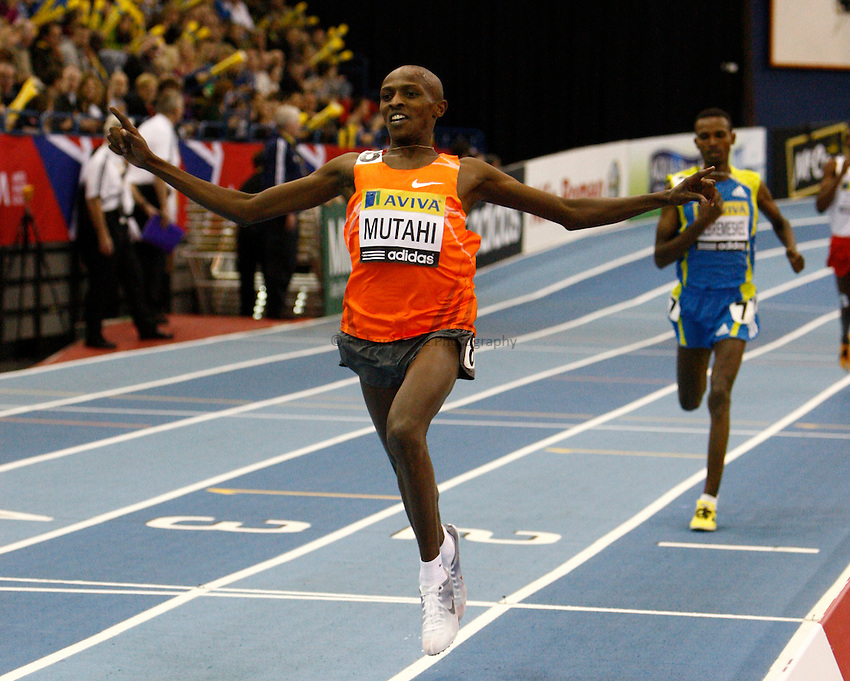 Photo: Richard Lane/Richard Lane Photography. Aviva Grand Prix. 20/02/2010. Kenya's Sammy Mutahi celebrates winning the men's 3000m.
