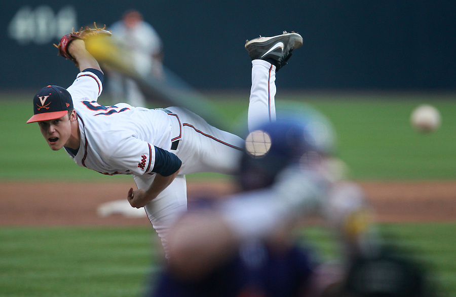 Virginia pitcher Nathan Kirby (19) throws a ball during the game against Clemson Friday at Davenport Field in Charlottesville, VA. Photo/The Daily Progress/Andrew Shurtleff