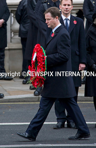 "NICK CLEGG.REMEMBRANCE SERVICE 2010.Prince Philip, Prince Charles, Prince Andrew Prince Edward and Princess Anne joined the Queen at the Cenotaph, London for the annual Service of Remembrance_14/11/2010..Mandatory Photo Credit: ©Dias/Newspix International..**ALL FEES PAYABLE TO: ""NEWSPIX INTERNATIONAL""**..PHOTO CREDIT MANDATORY!!: NEWSPIX INTERNATIONAL(Failure to credit will incur a surcharge of 100% of reproduction fees)..IMMEDIATE CONFIRMATION OF USAGE REQUIRED:.Newspix International, 31 Chinnery Hill, Bishop's Stortford, ENGLAND CM23 3PS.Tel:+441279 324672  ; Fax: +441279656877.Mobile:  0777568 1153.e-mail: info@newspixinternational.co.uk"