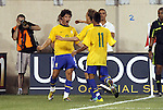 10 AUG 2010: Alexandre Pato (BRA) (9) celebrates with Neymar (11) before realizing that his apparent goal had been disallowed. The United States Men's National Team lost to the Brazil Men's National Team 0-2 at New Meadowlands Stadium in East Rutherford, New Jersey in an international friendly soccer match.