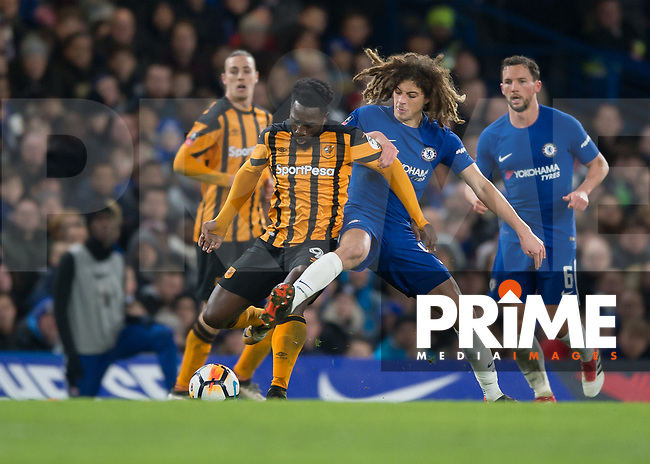 Ethan Ampadu of Chelsea tackles Nouha Dicko of Hull City during the FA Cup 5th round match between Chelsea and Hull City at Stamford Bridge, London, England on 16 February 2018. Photo by Vince  Mignott / PRiME Media Images.