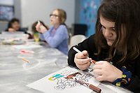 Allyson Meagher, 12, colors an art piece, Thursday, January 9, 2019 at the Boys and Girls Club in Bentonville.<br /> <br /> Thursday was national law enforcement appreciation day. Kids at the Boys and Girls Club made coloring sheets and wrote thank you notes to show appreciation for law enforcement. They will send some of the best ones to the Bentonville police department. Check out nwaonline.com/200110Daily/ for today's photo gallery.<br /> (NWA Democrat-Gazette/Charlie Kaijo)