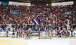 Stockholm 2014-03-27 Ishockey Kvalserien Djurg&aring;rdens IF - R&ouml;gle BK :  <br /> Djurg&aring;rdens supportrar och spelare jublar tillsammans efter matchen <br /> (Foto: Kenta J&ouml;nsson) Nyckelord:  DIF Djurg&aring;rden R&ouml;gle RBK Hovet jubel gl&auml;dje lycka glad happy supporter fans publik supporters