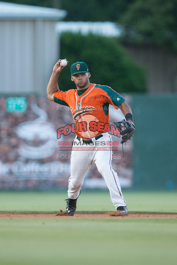 Greensboro Grasshoppers shortstop Justin Twine (1) makes a throw to first base against the Kannapolis Intimidators at CMC-Northeast Stadium on June 11, 2015 in Kannapolis, North Carolina.  The Intimidators defeated the Grasshoppers 7-6.  (Brian Westerholt/Four Seam Images)