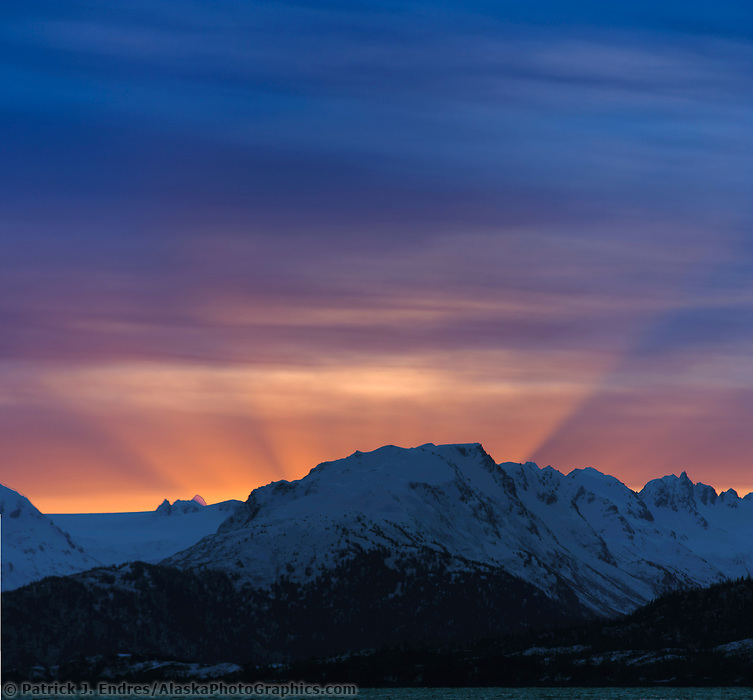 Morning sunrise over the Kenai Mountains, Alaska Peninsula, viewed from Homer, Alaska.