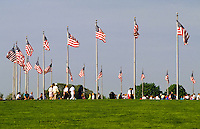 Washington Monument flag poles in Washington DC, USA