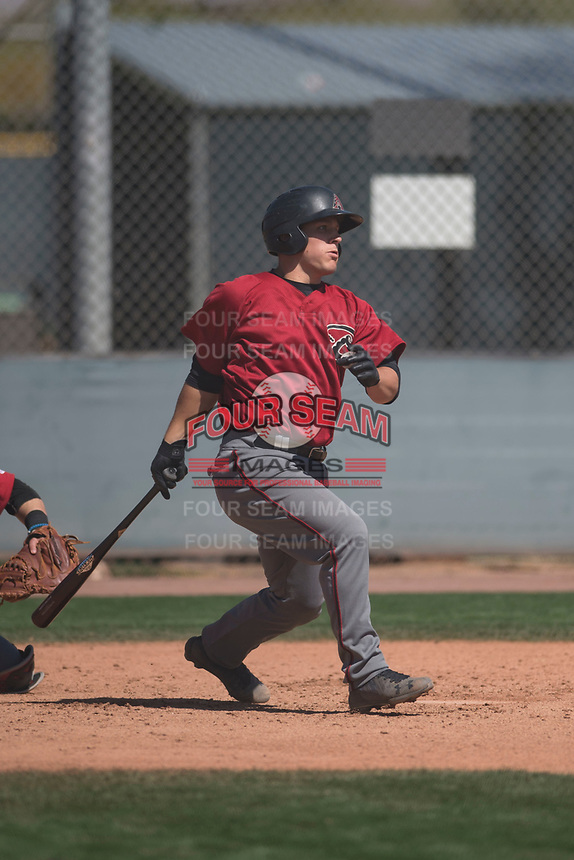 Arizona Diamondbacks catcher Daulton Varsho (23) follows through on his swing during a Minor League Spring Training intrasquad game at Salt River Fields at Talking Stick on March 12, 2018 in Scottsdale, Arizona. (Zachary Lucy/Four Seam Images)