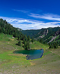 Olympic National Park, WA<br /> Overview of Heart Lake and the upper Sol Duc valley from the High Divide trail