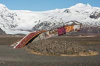 Rubble of the bridge at Skeidararbru. The bridge where destroyed 1996 after an eruption under the Vatnajoekull glacier. 50.000 m3/sek foating down and bring icebergs up to 1.000-2.000 tons.<br /> Truemmer einer Bruecke bei Skeidararbru. Die Bruecke wurde nach einer Eruption unter dem Vatnajoekull-Gletscher von Wasser und Eismassen zerstoert. 2 Tage nach der Eruption flossen 50.000 m3/sek in das Tal unterhalb des Gletschers und schwemmten Eisberge bis zu 1.000-2.000 Tonnen Gewicht mit.<br /> 19.3.2016, Skeidararbru<br /> Copyright: Christian-Ditsch.de<br /> [Inhaltsveraendernde Manipulation des Fotos nur nach ausdruecklicher Genehmigung des Fotografen. Vereinbarungen ueber Abtretung von Persoenlichkeitsrechten/Model Release der abgebildeten Person/Personen liegen nicht vor. NO MODEL RELEASE! Nur fuer Redaktionelle Zwecke. Don't publish without copyright Christian-Ditsch.de, Veroeffentlichung nur mit Fotografennennung, sowie gegen Honorar, MwSt. und Beleg. Konto: I N G - D i B a, IBAN DE58500105175400192269, BIC INGDDEFFXXX, Kontakt: post@christian-ditsch.de<br /> Bei der Bearbeitung der Dateiinformationen darf die Urheberkennzeichnung in den EXIF- und  IPTC-Daten nicht entfernt werden, diese sind in digitalen Medien nach &sect;95c UrhG rechtlich geschuetzt. Der Urhebervermerk wird gemaess &sect;13 UrhG verlangt.]