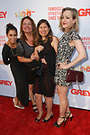 Left to right Daphne Rubin-Vega, Aida Turturro, guest and Geneva Carr arrive at the Grey Centennial Gala at Madison Square Park in New York City on May 18, 2017.