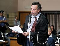 Processo ai boss del clan cammoristico dei Casalesi per le minacce allo scrittore di gomorra , Saviano<br /> nella foto il PM Antonello Ardituro