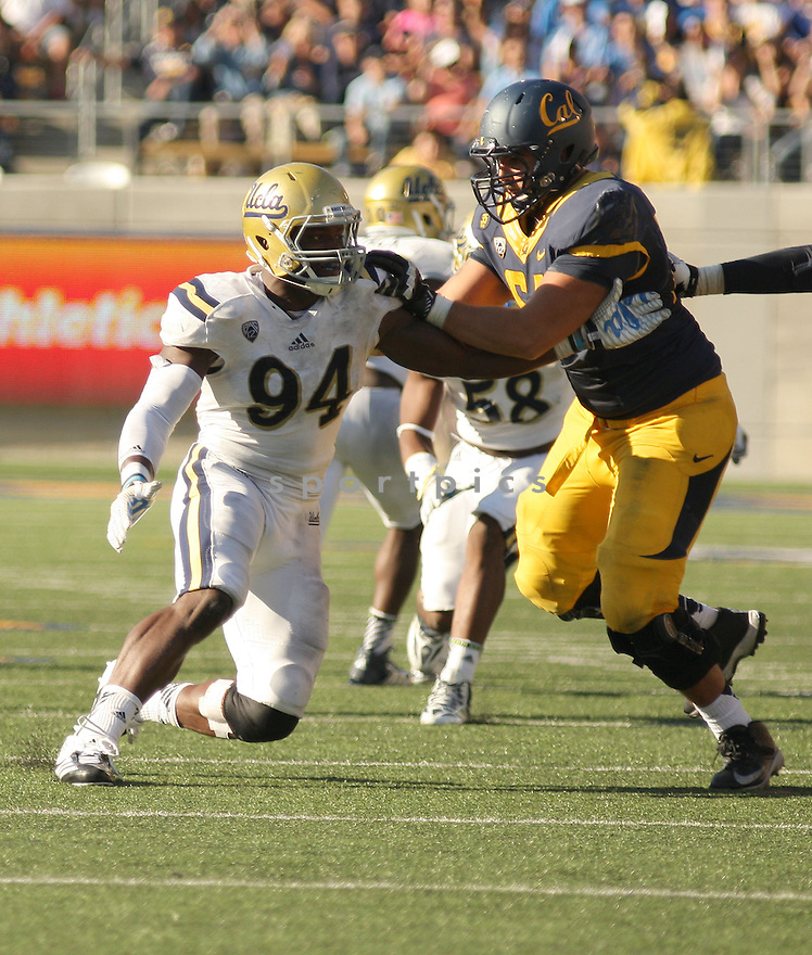 UCLA Bruins Owamagbe Odighizuwa (94) during a game against the California Golden Bears on October 18, 2014 at Memorial Stadium in Berkeley, CA. UCLA beat Cal 36-34.