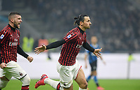 9th February 2020, Milan, Italy; Serie A football, AC Milan versus Inter-Milan; Zlatan Ibrahimovic celebrates as he scores in the 45th minute