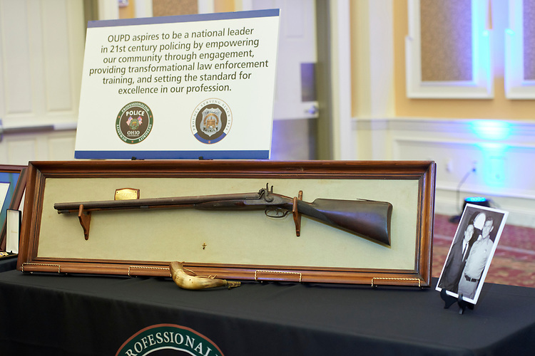A double barrel shotgun circa 1840, gifted to the university police department. This gun once belonged to Andy Griffith.