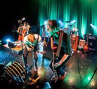 The Lumineers playing Boston House of Blues. Neyla Pekarek, Wesley Schultz, Jeremiah Caleb Fraites.
