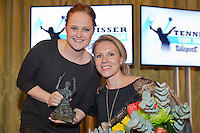 "December 08, 2014, Amsterdam, Amstel Hotel, Tennis player off the Year Awards, Aniek van Koot receives the wheelchair tennis player off the year award, the ""Esther Vergeer"" trophy out of the hands of Ester Vergeer.<br /> Photo: Henk Koster"