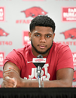 NWA Democrat-Gazette/CHARLIE KAIJO Arkansas Razorbacks forward Trey Thompson fields questions during a media conference after the NCAA selection show, Sunday, March 11, 2018 at Bud Walton Arena in Fayetteville. The Razorbacks will play Butler in Detroit on Friday