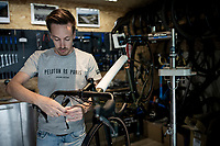 Belgian top custom bike mechanic Vince Van Parijs of Peloton de Paris (Mechelen) assembles a custom Ridley Kanzo gravel bike<br /> <br /> ©kramon