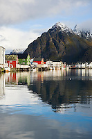 Mountain reflection in harbor, Henningsvær, Lofoten islands, Norway