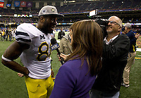 Kevin Koger of Michigan talks with the reporter after winning Sugar Bowl game against Virginia Tech at Mercedes-Benz SuperDome in New Orleans, Louisiana on January 3rd, 2012.  Michigan defeated Virginia Tech, 23-20 in first overtime.