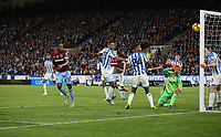 West Ham United's Issa Diop sees his header cleared off the line<br /> <br /> Photographer Rob Newell/CameraSport<br /> <br /> The Premier League - Huddersfield Town v West Ham United - Saturday 10th November 2018 - John Smith's Stadium - Huddersfield<br /> <br /> World Copyright © 2018 CameraSport. All rights reserved. 43 Linden Ave. Countesthorpe. Leicester. England. LE8 5PG - Tel: +44 (0) 116 277 4147 - admin@camerasport.com - www.camerasport.com