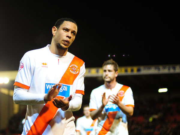 Blackpool's Nathan Tyson looks dejected as he walks off the pitch at the end of the game<br /> <br /> Photo by Chris Vaughan/CameraSport<br /> <br /> Football - The Football League Sky Bet Championship - Barnsley v Blackpool - Saturday 18th January 2014 - Oakwell Stadium - Barnsley<br /> <br /> &copy; CameraSport - 43 Linden Ave. Countesthorpe. Leicester. England. LE8 5PG - Tel: +44 (0) 116 277 4147 - admin@camerasport.com - www.camerasport.com
