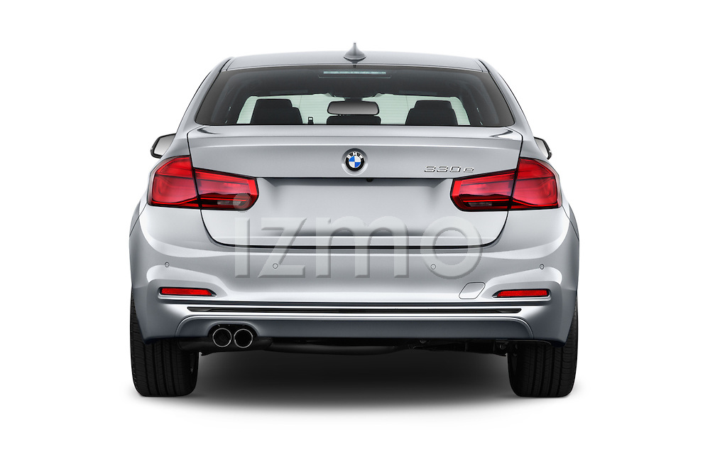 Straight rear view of 2018 BMW 3-Series 330e-iPerformance 4 Door Sedan Rear View  stock images