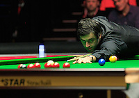 Ronnie O'Sullivan in action during the Dafabet Masters FINAL between Barry Hawkins and Ronnie O'Sullivan at Alexandra Palace, London, England on 17 January 2016. Photo by Liam Smith / PRiME Media Images