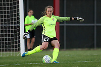 Piscataway, NJ, April 24, 2016. Goalkeeper Caroline Casey (27) of Sky Blue FC takes a kick.  The Washington Spirit defeated Sky Blue FC 2-1 during a National Women's Soccer League (NWSL) match at Yurcak Field.