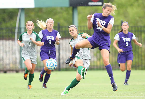 Denton, TX - SEPTEMBER 16: Allison Guderian #13 of the North Texas Mean Green soccer in action against the Texas Christian University Horned Frogs at the Mean Green Village Soccer Field University in Denton on September 16, 2012 in Denton, Texas. (Photo by Rick Yeatts)